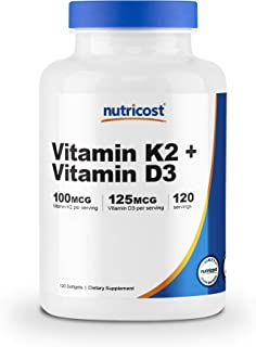 Sponsored Ad - Nutricost Vitamin K2 (MK7) (100mcg) + Vitamin D3 (5000 IU) 120 Softgels - Gluten Free and Non-GMO