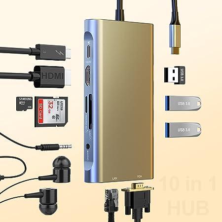 Concentrador USB C,Adaptador Concentrador Tipo C 10 en 1,Estación de acoplamiento USB C con Ethernet, 4K HDMI,VGA,PD 60W Tipo C,tarjetas SD/TF,3 USB3.0,Audio,Compatible con Macbook otros USB C Laptops