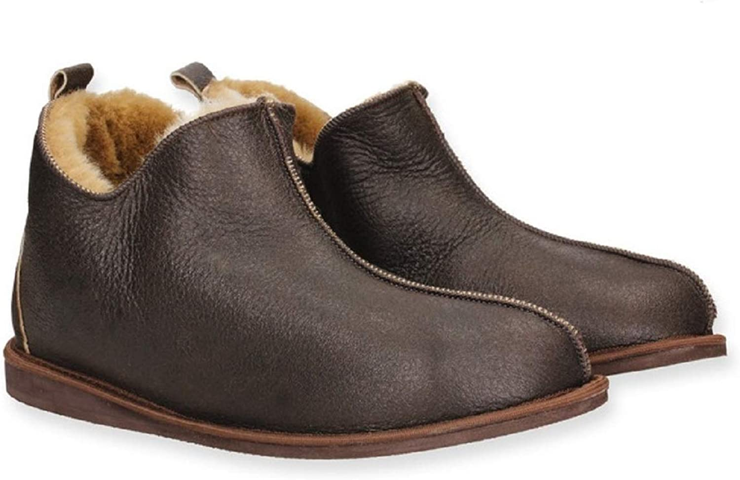 Yeti & Sons Hand Crafted Luxury Men's 100% Sheepskin Lined Ankle Hardsole Boot Slippers