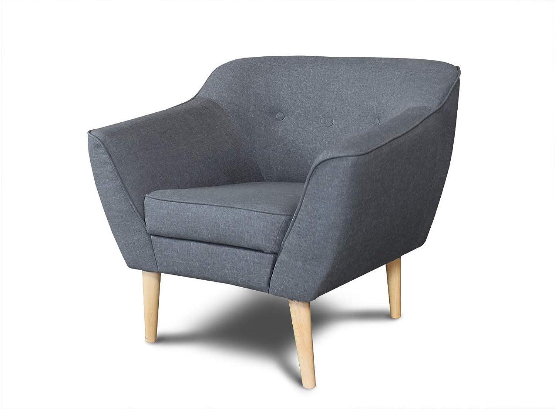Sessel Scandi - Scandinavian Design Kollektion, Holzfüe, Couchhusse für Einsitzer Couchsessel oder Loungesessel, Stühl, Wohnzimmer (Dunkelgrau (Sawana 05))