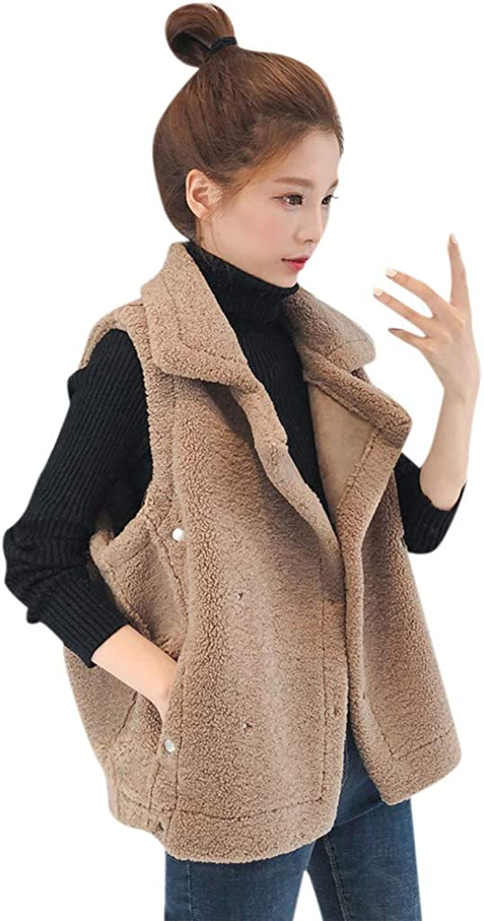 BCDlily Women Vest Fashion Sleeveless Jackets Draped Open Front Cotton-Padded Coats Outerwear