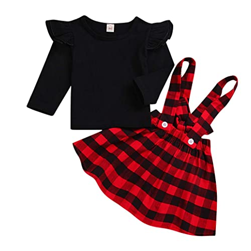 c945410bd Baby Christmas Outfits,Girl Long Sleeve T-Shirt Ruffle Top Overalls Strap Dress  Clothes