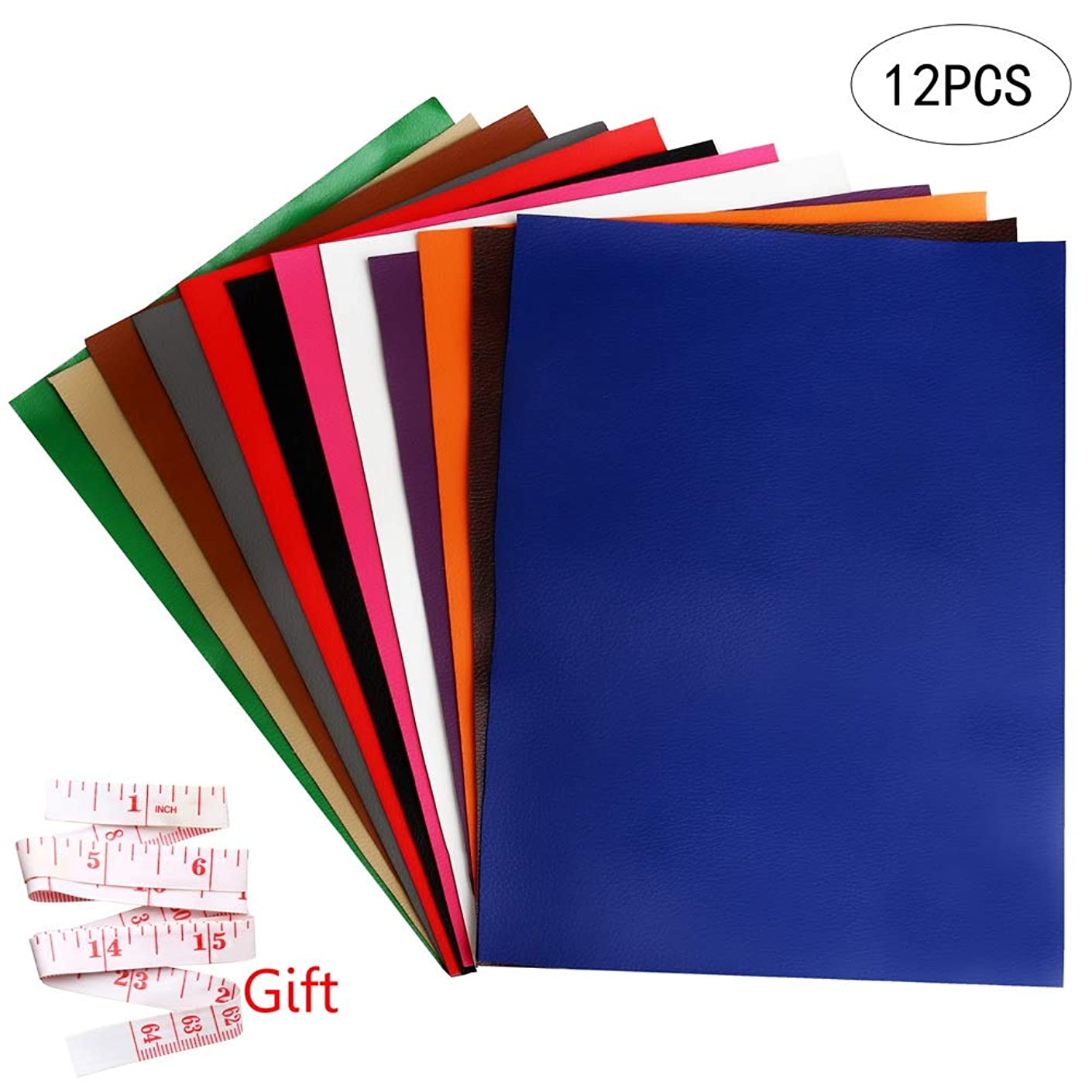 Pengxiaomei 12 Pieces Synthetic Leather Fabric, PU Leather Repair Fabric Faux Leather Sheets for Making Bags Car Leather Seats Sofas Craft DIY Sewing Projects (Solid Color)