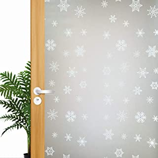 Snowflake Frosted Decorative Window Film Privacy Glass Door Tint Sticker, No Adhesive Stained Glass Window Decoration Heat Control & Anti UV, 17.5x78.7 inch