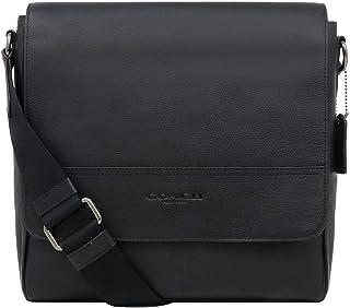 F68015 Houston Map Leather Crossbody Messenger Shoulder Bag, QB/Black