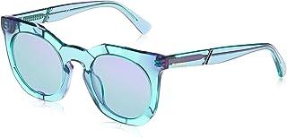 نظارات شمسية للنساء من ديزل DL027089Q49 - عدسات عاكسة بلون تركواز/أخضر- بلاستيك