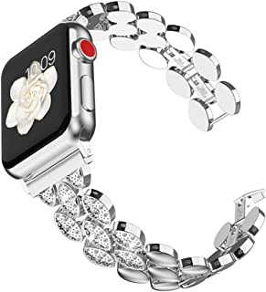 Glebo Unique Fashion Band Compatible with Apple Watch Band 38mm 40mm 42mm 44mm Women, Stainless Steel Fancy iWatch Bands Bracelet Straps for Apple Watch Series 5 Series 4 Series 3 Series 2 Series 1