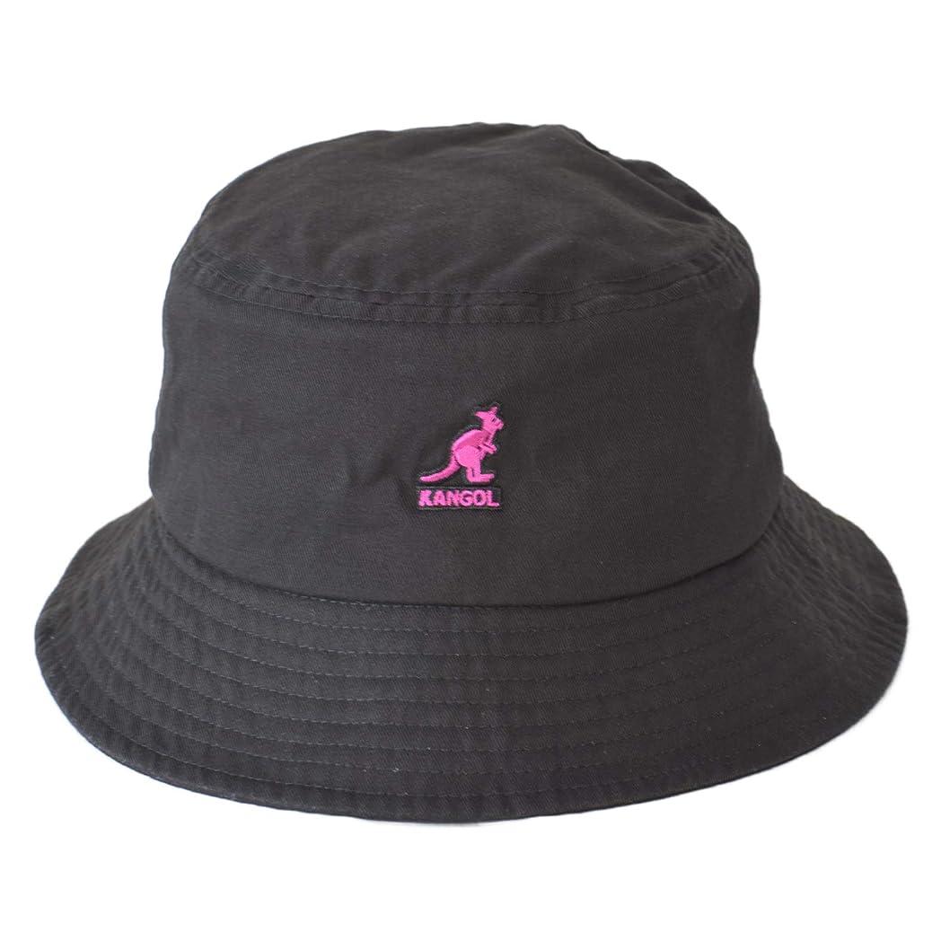 残酷墓地ぼんやりしたカンゴール(KANGOL) ロゴ バケット ハット HAT 帽子 ロゴハット バケットハット ブランド kangol Washed Bucket Hat (M(56~57cm), 02 ブラックxピンク)