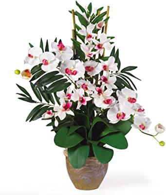 Nearly Natural 1071-WW Double Phalenopsis/Dendrobium Silk Flower Arrangement, White