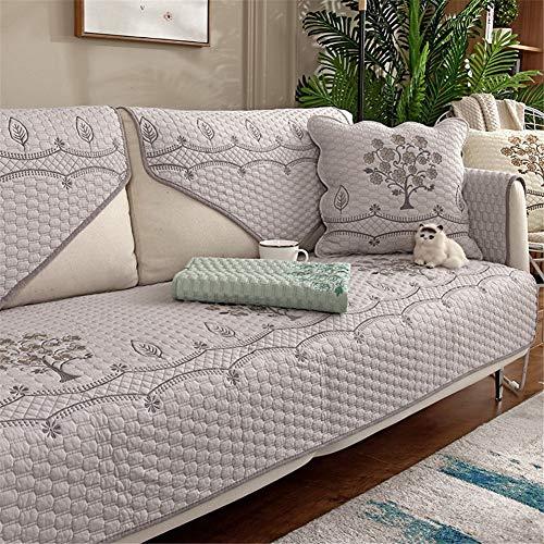 QBFT Modern Comfortabele Sofa Cover 100% Katoen Gewatteerde Stoel Slipcover Antislip Ademende Meubelbescherming 1 Stuk Voor Met Armleuningen L Vorm Hoekbank Etc