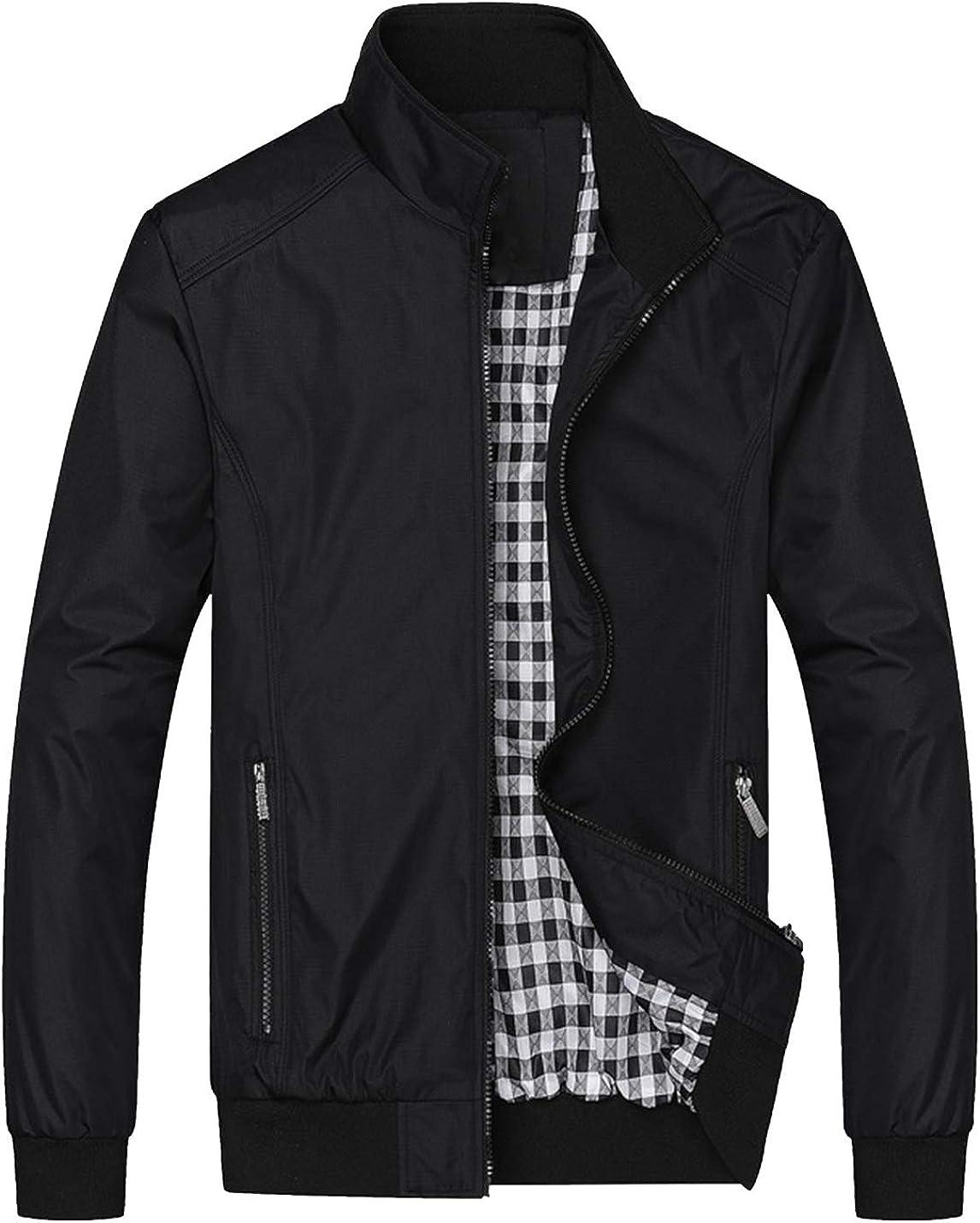 HaoMay Men's Business Lightweight Full Zip Fleece Lined Bomber Jacket