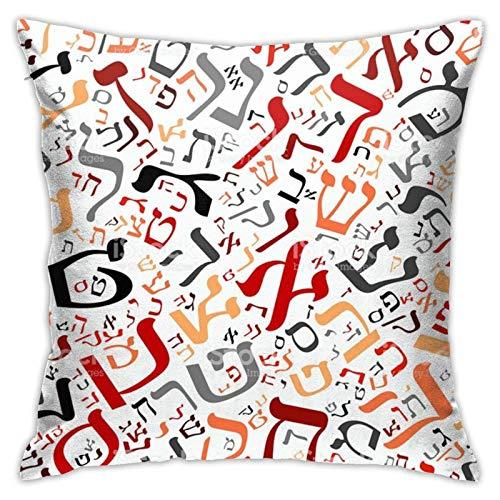 WH-CLA Fundas De Almohada De Tiro Creativo Alfabeto Hebreo Silla Funda De Almohada Funda De Cojín Cremallera 45X45Cm Sofá Decorativo Decoración del Hogar Impresa Moda Funda De Almohada C