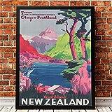zachking Retro Poster Neuseeland Vintage Reise Poster