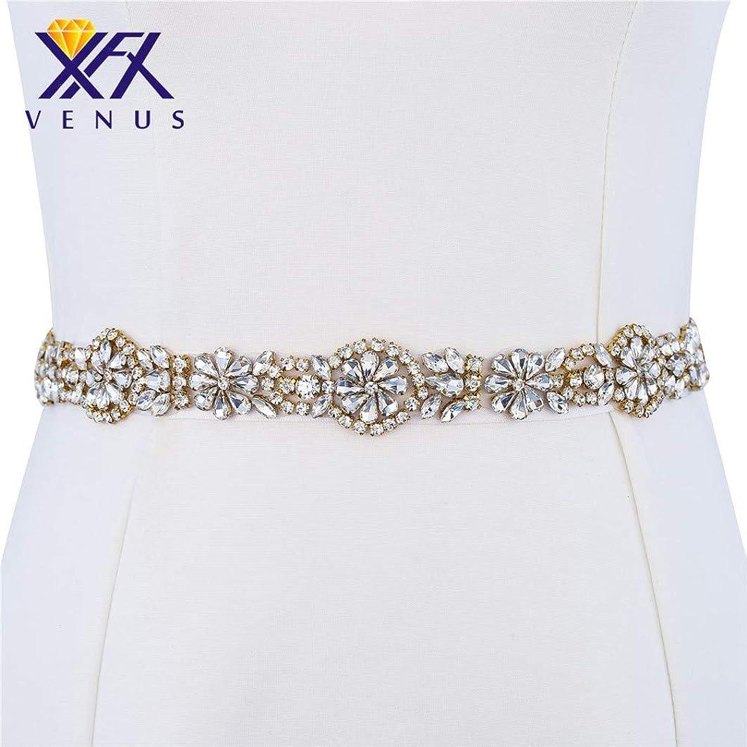 Rhinestone Diamante Beaded Belt Applique Crystal Bridal Wedding Dress Sash Belt Patch Clothes Embellishments Sew Iron on Hot Fix for Bride Bridesmaid Gown Women Prom Formal Belt (Gold-1 Yard)
