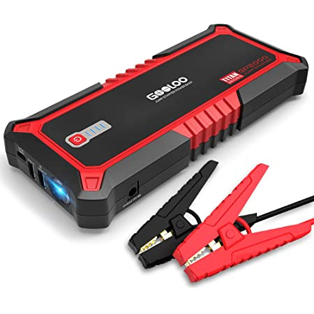 GOOLOO 2000A Peak SuperSafe Car Jump Starter for Up to 9L Gas or 7L Diesel Engine with USB Quick Charge, Type-C Port, 12V Auto Portable Lithium Battery Booster Power Pack