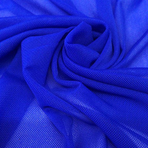 Solid Power Mesh Fabric Nylon Spandex 60' Wide Stretch Sold BTY Many Colors (Royal Blue, 1 Yard)