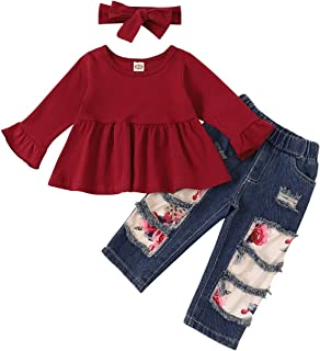 Toddler Girl Summer Clothes Floral Ruffle Sweet Short Sleeve Top + Floral Pants Fall Winter 2PC Baby Girl Outfit Sets
