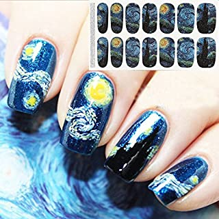 Bluezoo Full Nail Art Sticker Van Gogh's Starry Night Fullnail Stickers,14 Decals/sheet,Shimmery Glittery Nail sticker (Pack of 2 PCS)