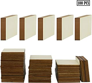 Twdrer 100PCS Unfinished Blank Wood Squares, Wooden Squares Cutout Tiles for DIY Arts Crafts, Handmade Wedding Ornaments, Centerpieces, Board Game Pieces, Ornaments for Book Signing.(5cm/2inch)