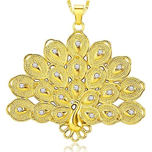 Minekkyes Collar de Pavo Real de Color Dorado para Mujeres y Hombres, Cadena de Regalo para Fiestas, Gargantilla con dijes, Collar con Colgante de Fénix en Forma de Sector