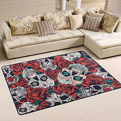 Fun-World Area Rug Tapis Squelette et Rose Tapis coloré Moderne pour Salon Chambre à Coucher Tapis de Chambre de bébé Lavable en Machine,150X100Cm