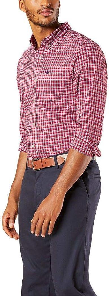 Dockers Camisa tejida a cuadros de manga larga para hombre