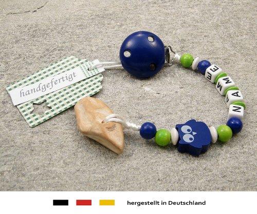 kleinerStorch Veilchenwurzel an Schnullerkette mit Namen - natürliche Zahnungshilfe Beißring für Babys - Schnullerhalter mit Wunschnamen - Jungen Motiv Eule in dunkelblau