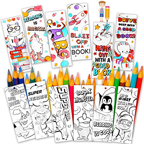 60 Pieces Color Your Own Bookmarks DIY Color Bookmarks Coloring Bookmarks with Ribbons for Teachers Students Classroom Rewards Office Supplies