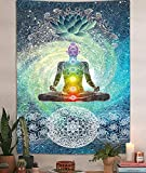 Chakra Vertical Tapestry, Seven Chakra Yoga Meditation Zen Decor Tapestry Wall Hanging for Bedroom, Hippie Lotus Spiritual Tapestries Poster Beach Blanket College Dorm Home (40W X 60H)