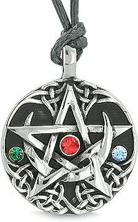 Amulet Pentacle Magic Star Celtic Defense Green Blue Red Crystals Pentagram Pendant Adjustable Necklace