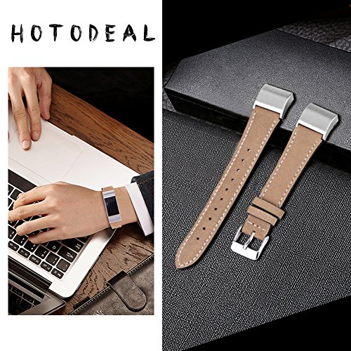 Hotodeal Replacement Leather Band Compatible for Charge 2, Classic Genuine Leather Wristband Metal Connector Watch Bands, Fitness Strap Women Men Small Large (Light Brown- Silver Buckle) 3
