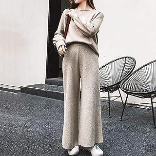 YYT123 Suéter para Mujer Traje de Punto Ropa Deportiva para Mujer 2 Tops y Pantalones de Dos Piezas Traje de Sudadera de o...