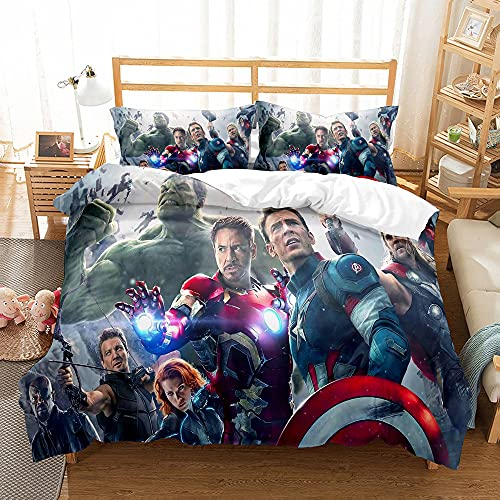 Aatensou - Juego de 3 fundas de edredón para niños Marvel Avengers Heroes (incluye 1 funda de edredón y 2 fundas de almohada) (AV3.220 x 240 cm + 80 x 80 cm x 2)