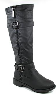 e5fbee3a7cd Top Moda Fab 5 Womens Knee High Buckle Riding Boots BLACK