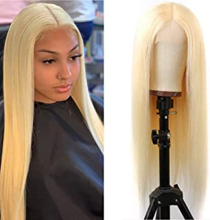 613 Lace Front Wig Human Hair Brazilian Virgin Straight Human Wig Pre Plucked With Baby Hair for Black Woman Blonde Color(...