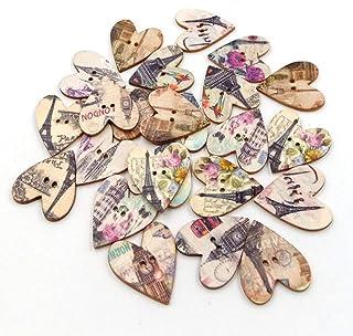 Exceart 50 peças de botões de coração de madeira, 2 orifícios, estampa de Torre Eiffel, botões decorativos para artesanat...