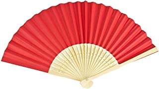 VON LILIENFELD Fächer Bella Papierfächer Handfächer Leicht Bambusstäbe rot