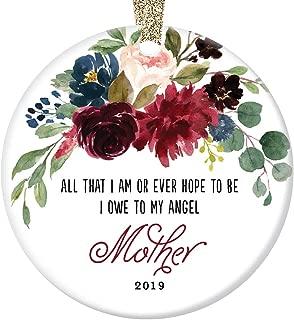 "2019 Memorial Ornament Christmas Gift Remembering Mother Porcelain Holiday Season Tree Decoration Memorializing Mom Madre Angel Beautiful Keepsake Present 3"" Flat Ceramic with Gold Ribbon & Free Box"
