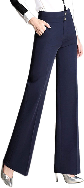 CHARTOU Women's High Waist Double-Button Closure Boot-Cut Dress Pants