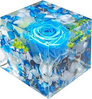 ハーバリウム 固める 固まる クリスタルハーバリウム ブルー フラワーキューブ プリザーブドフラワー レジン 樹脂 アート 誕生日 おしゃれ 枯れない サプライズ 記念品 ペーパーウエイト アートリウム