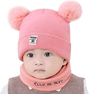 WOCACHI Baby Infant Pom Pom Knit Crochet Beanie Cap Scarf 2PCS Sets Winter Warm Hat for Baby Girls Boys