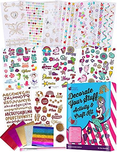 Purple Ladybug Kit Decora tus Cosas para Niñas - Manualidades de Niños con Gemas Adhesivas, Pegatinas Personalizadas de Vinilo, Purpurina y Letras Transferibles - Regalos Originales para Niñas