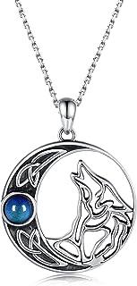 925 الفضة الاسترليني الهلال القمر الذئب قلادة القمر السلتيك الذئاب العوي قلادة مجوهرات للنساء الرجال زوجين الأصدقاء