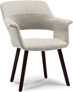 Belleze Mid Century Modern Accent Chair Dining Armrest Curve Back Living Room with Wooden Leg, Gray