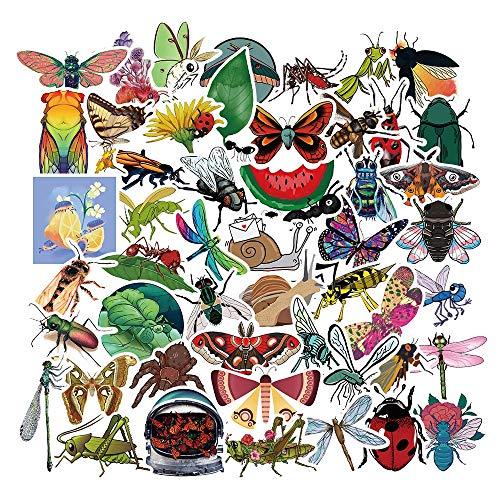 LSPLSP Mariquita libélula Insecto Lindo Juguete Adhesivo de Dibujos Animados para papelería DIY monopatín teléfono Bicicleta portátil Guitarra 50 Uds