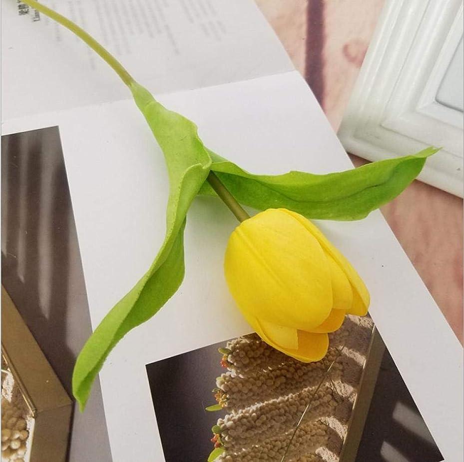 Otun 10シミュレーションpu大チューリップ高級グレード造花つぼみ花結婚式の家の偽の花、黄色