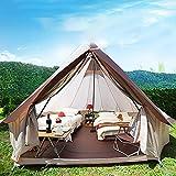 Tente Mongole Yourte, 4 m tissu Oxford imperméable plein air Tente de camping en famille Tente Resort Glamping Yurt avec fermeture à glissière dporte en filet pour 3-10 personnes camping Glamping