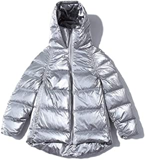 Women's Down Jackets Small Men's Down Jackets Women's Short Loose Thick Stand Collar Hooded Winter Coat Women's Wear Suitable for Daily Commute (Color : Silver, Size : M)
