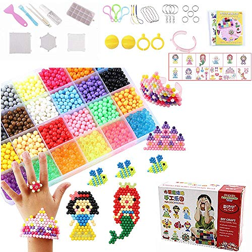 GUANGZHOU Kids Arts and Crafts, Toys for Girls ,Fuse Beads Kit ,Complete Activity Kit ,Flip Tray for Instant Drying,Over 2200 Pieces