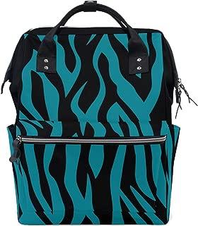 LUPINZ Blue Black Zebra Print Tie Dye Color Diaper Bags Multi-Function Backpack Travel Bag
